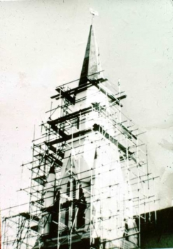 Repairs to the Wesley spire after the Meckering earthquake 1968