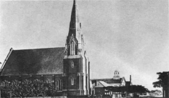 Looking north along William Street showing Wesley Church and the second chapel with the Sunday School on the corner.